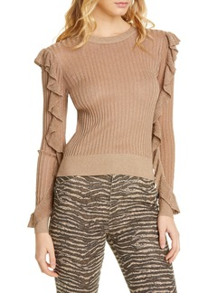 Joie Beza Metallic Ruffle Sleeve Sweater