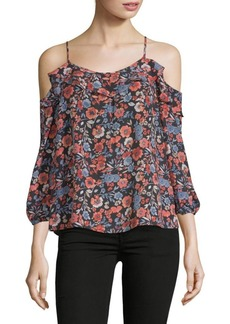 Joie Birtha Floral Cold-Shoulder Silk Top