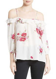 Joie Birtha Floral Silk Off the Shoulder Top