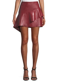 Joie Botan Draped Ruffle Leather Mini Skirt