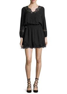 Joie Branco Lace-Trim Silk Dress