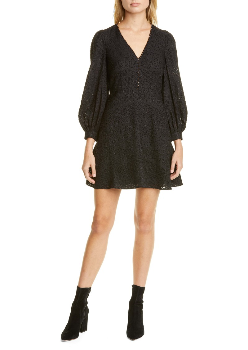 Joie Breena Metallic Detail Long Sleeve Minidress