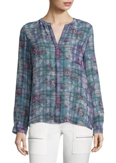 Joie Brigid C Floral & Plaid Silk Blouse