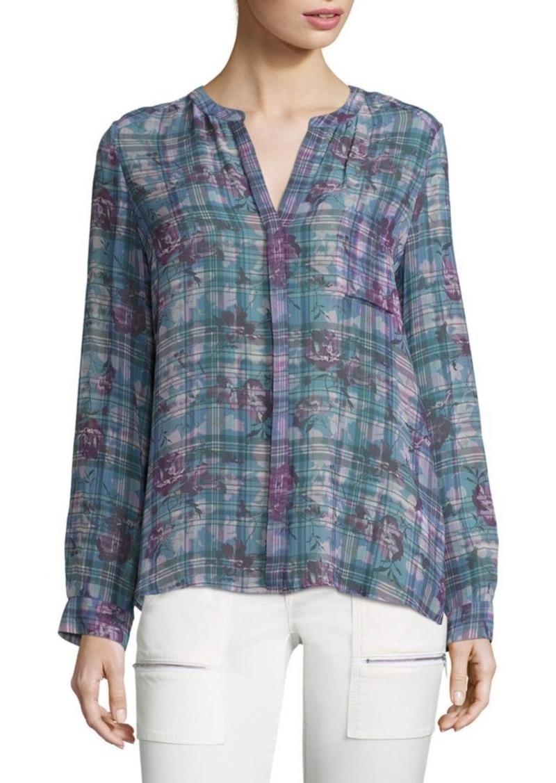 0437d6ab Joie Brigid C Floral & Plaid Silk Blouse   Casual Shirts
