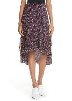 Joie Brigida Tiered Print Silk Skirt