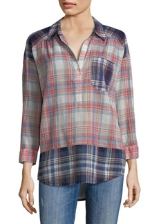 Joie Briselda Yarn Dyed Plaid Blouse
