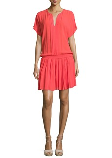 Joie Bryton Smocked-Waist Blouson Dress