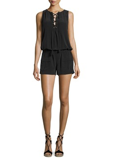 Joie Caline Sleeveless Lace-Up Silk Romper