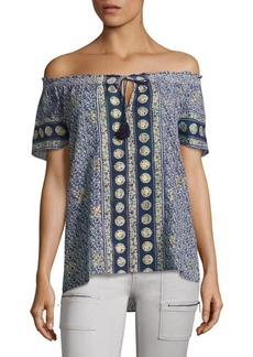 Joie Camelyn Tassel Off-The-Shoulder Blouse