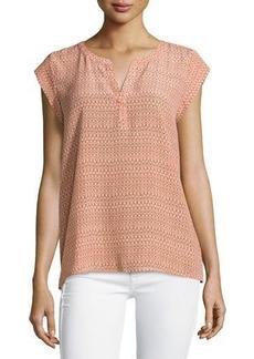Joie Cap-Sleeve Silk Top