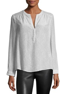 Joie Carita Long-Sleeve Lace-Print Top