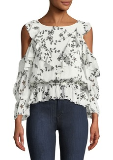 Joie Carlyton Floral-Eyelet Cold-Shoulder Silk Top