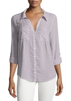 Joie Cartel Button-Front Plaid Cotton Blouse