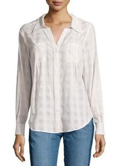 Joie Cartel Button-Front Plaid Cotton Blouse