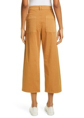 Joie Cassedy Button Fly Wide Leg Crop Stretch Cotton Pants
