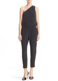 Joie Cassia One-Shoulder Silk Blouson Jumpsuit