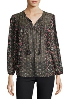 Joie Cassin Semisheer Floral-Print Silk Top