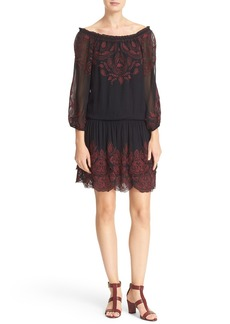 Joie Cassopia Embroidered Blouson Dress
