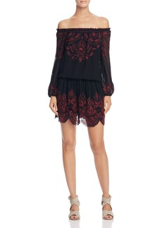 Joie Cassopia Embroidered Off-the-Shoulder Dress