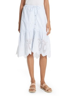 Joie Chantoya Eyelet Scallop Hem Cotton Skirt
