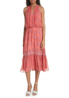 Joie Chara Print Silk Midi Dress