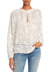 Joie Chaylse Floral Embroidery Lace Trim Blouse