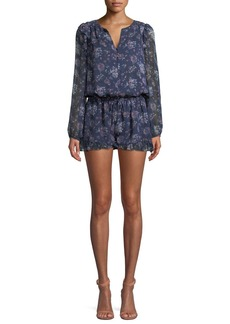 Joie Cherita Button-Front Long-Sleeve Floral-Print Silk Romper