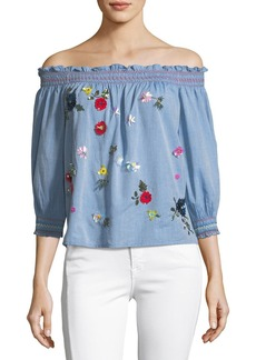 3bacb9af96bc37 Joie Citra Off-the-Shoulder Denim Top with Sequin Appliques