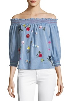 Joie Citra Off-the-Shoulder Denim Top with Sequin Appliques