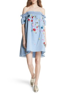 Joie Clarimonde Embroidered Off the Shoulder Cotton Dress