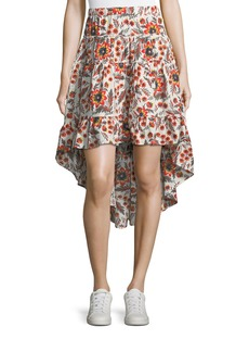 Joie Clarke Floral Cotton High-Low Skirt