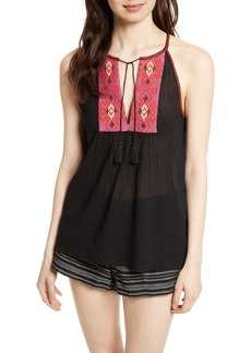 Joie Clea Embroidered Tie Neck Top