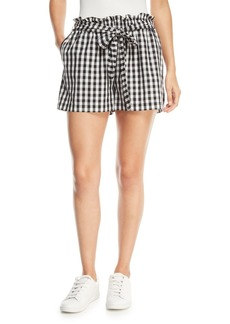 Joie Cleantha Check Cotton Tie-Waist Shorts