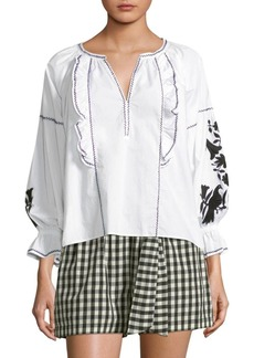 Joie Cleavanta Embroidered Poplin Blouse