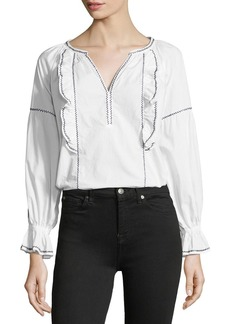 Joie Cleavanta Ruffle V-Neck Top