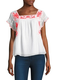 Joie Cleavon Embroidered Gauze Blouse