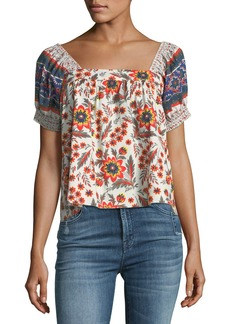Joie Cleona Pouf-Sleeve Floral-Print Cotton Top
