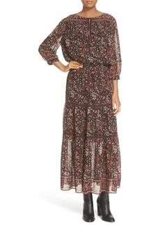 Joie 'Clover' Floral Print Silk Peasant Dress