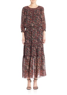 Joie Clover Floral Printed Silk Dress