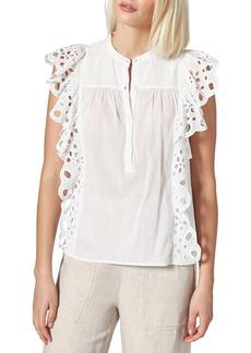 Joie Coralia Eyelet Ruffle Cotton Top
