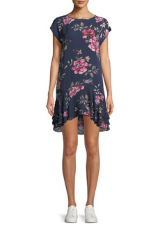 Joie Coreen Round-Neck Floral-Print Silk Shift Dress