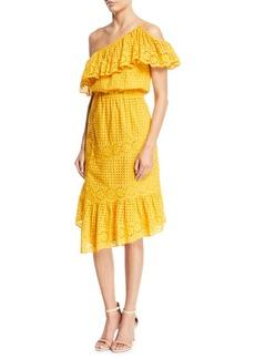 Joie Corynn One-Shoulder Eyelet Dress