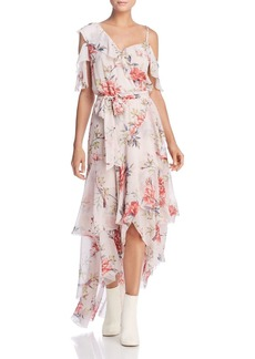 Joie Cristeta Cold-Shoulder Silk Dress