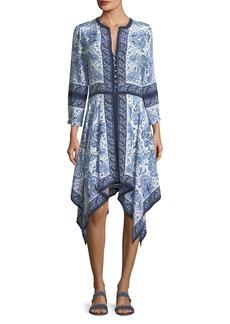 Joie Cynthia Button-Front Paisley-Print Silk Dress