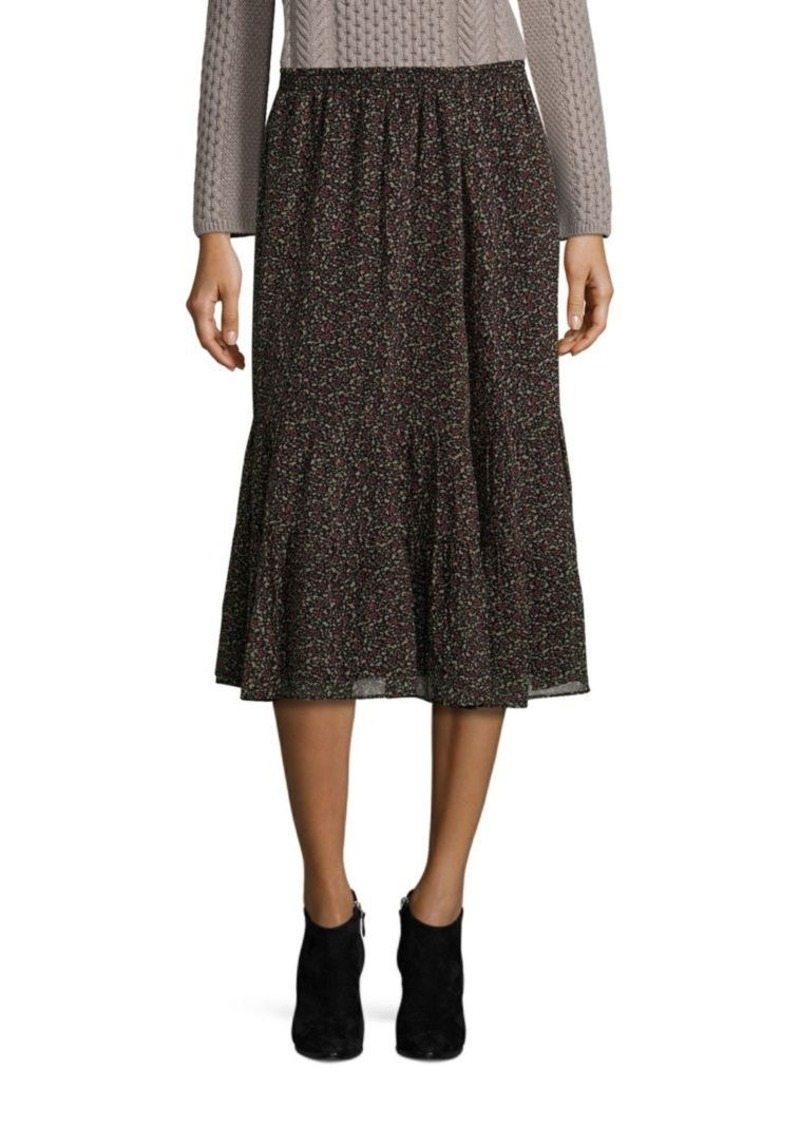 Joie Cyprine Silk Floral-Print Midi Skirt