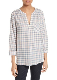 Joie Dacia Plaid Split Neck Top