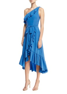 Joie Damica One-Shoulder Wrap Silk Midi Dress with Ruffled Frills