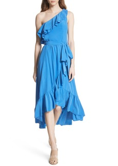 Joie Damica Ruffle One-Shoulder Silk Dress