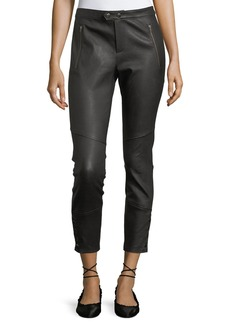 Joie Darnella Skinny Leather Pants w/ Snaps