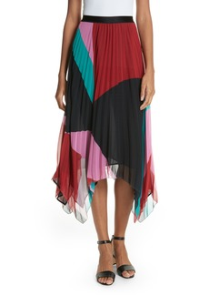 Joie Dashiella Colorblock Pleated Chiffon Skirt
